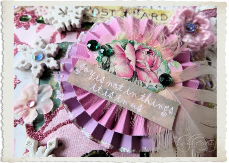 Handmade floral paper rosette with wordart by Ingeborg van Zuiden