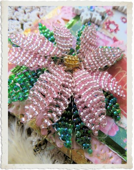 Handmade pink Poinsettia with beads by Ingeborg van Zuiden My fairy Beautiful world
