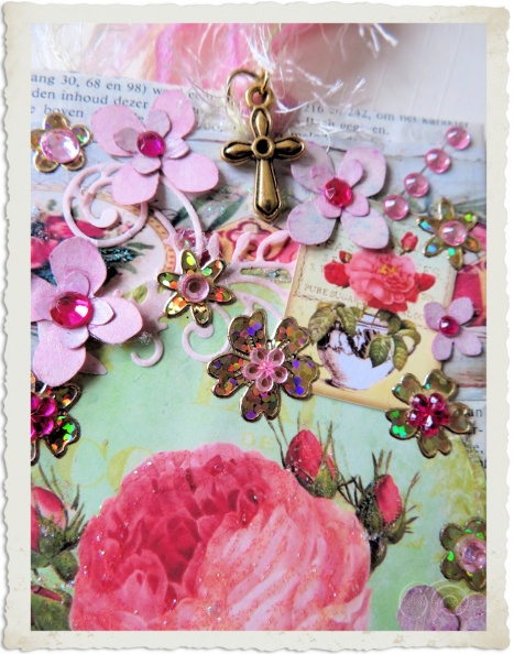 Details of pink religious paper tag