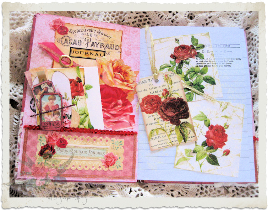 Inside pocket of love journal with ephemera