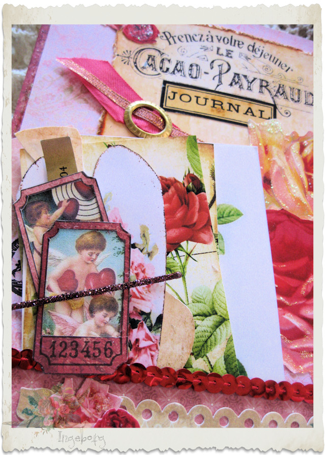 Cupid angels ticket and heart ephemera for ladies journal by Ingeborg van Zuiden