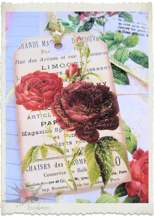 Vintage rose tag by Ingeborg