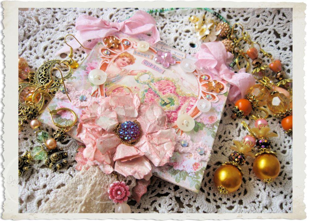 Pink spring floral notecard hanger with vintage angel