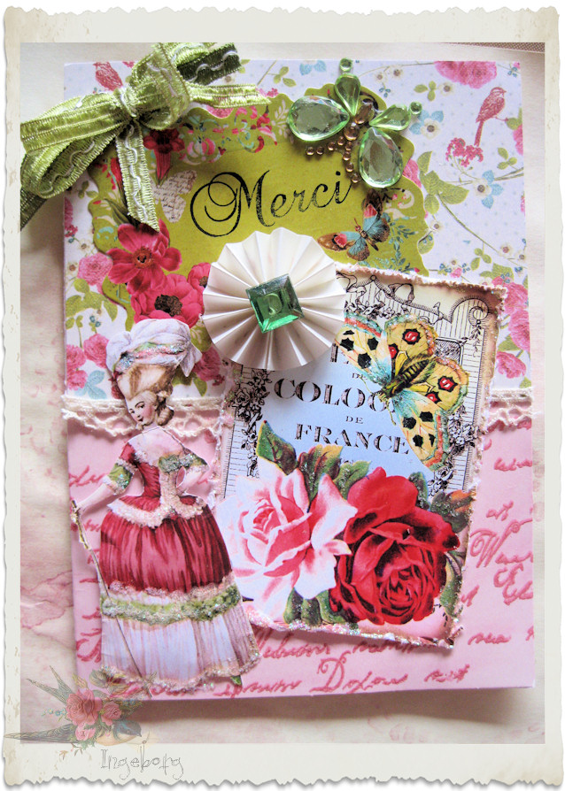 Handmade floral Marie-Antoinette card with butterfly