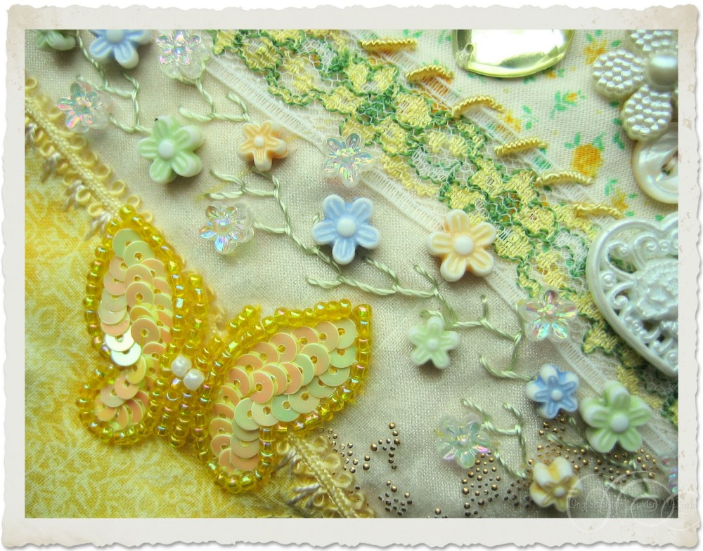 Yellow butterfly with sequins and seed beads