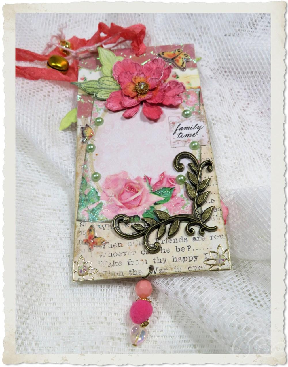Backside of handmade paper tag