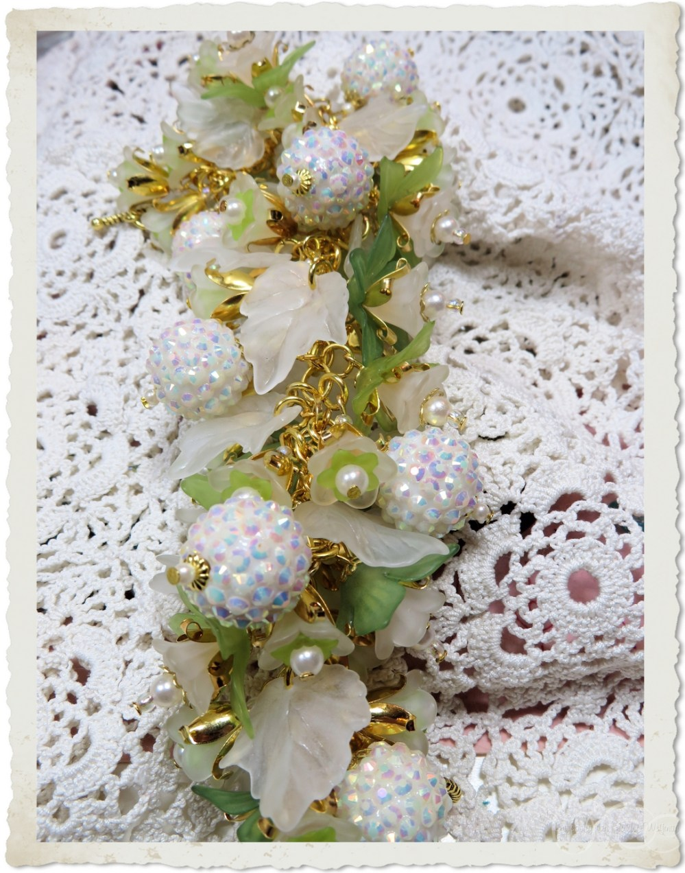 White berry beads and leaves