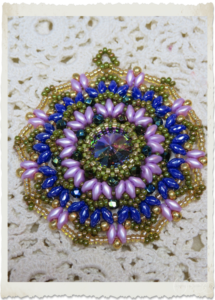 Purple blue superduo brooch