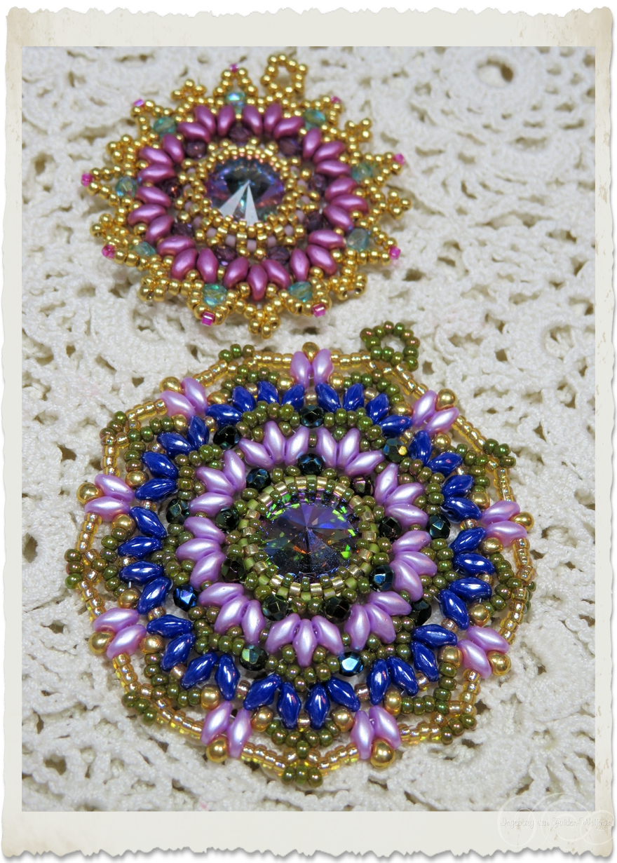 Two handmade beadweaving brooches with Rivoli stones