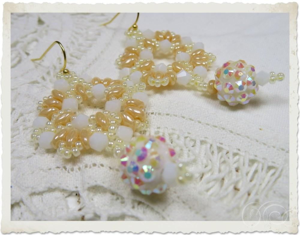 Details of white creme shamballa beadweaving earrings