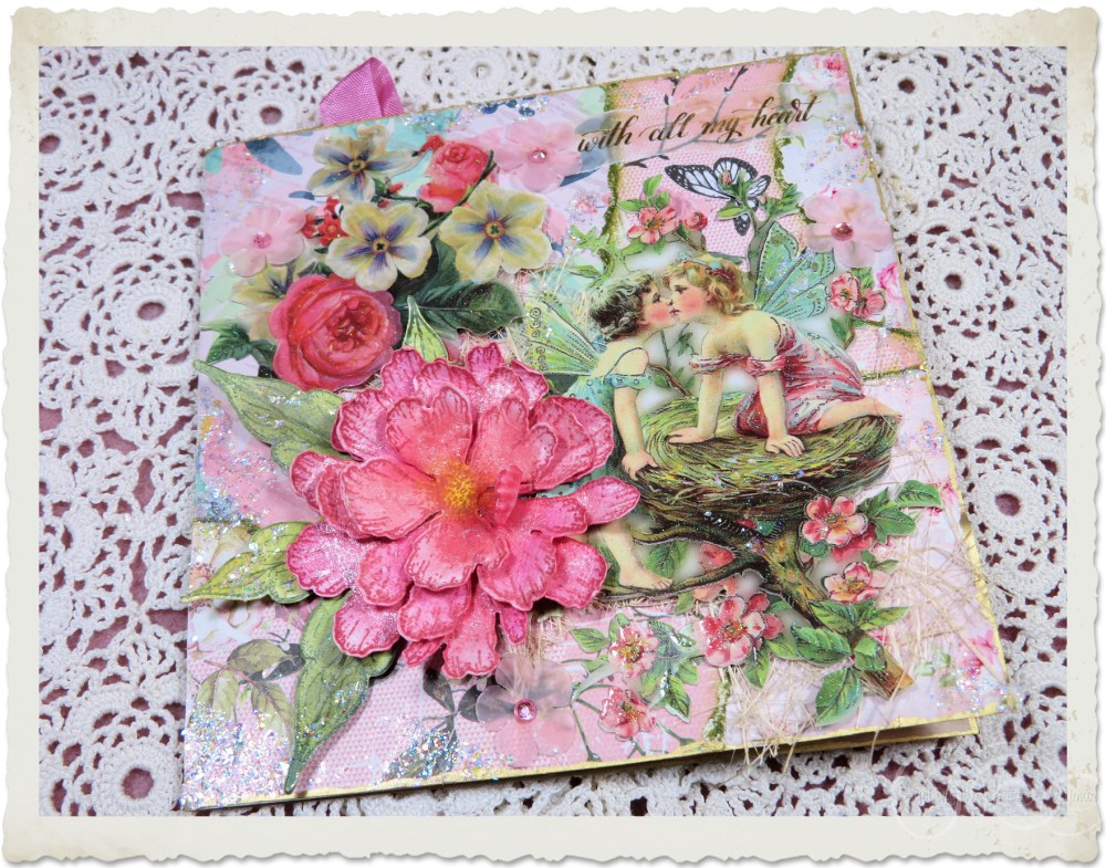 Handmade vintage floral card with kissing angels and pink peony flower