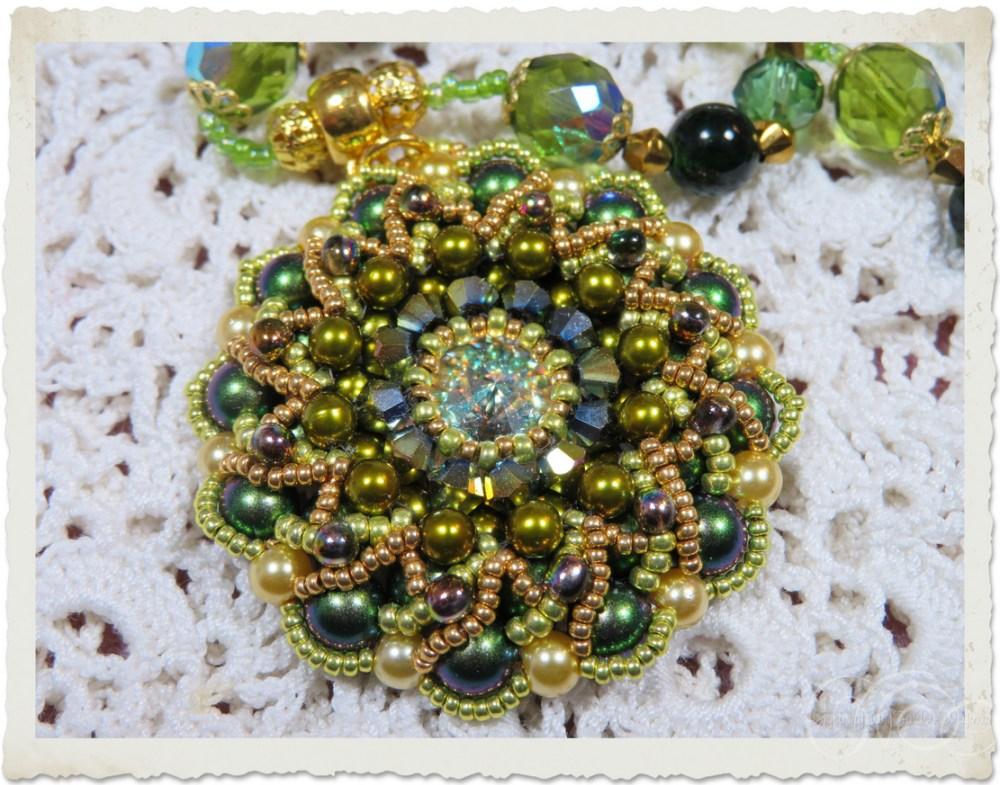 Handmade Swarovski pendant with bicones