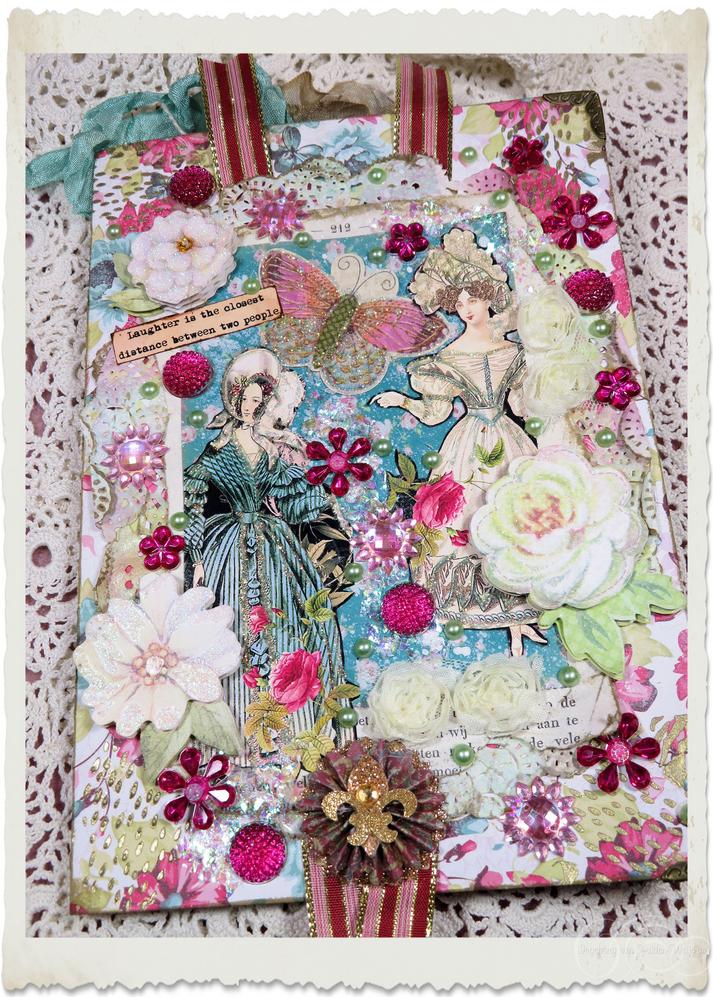 Handmade vintage style greeting card with Regency ladies and pink floral embellishments created by Ingeborg van Zuiden