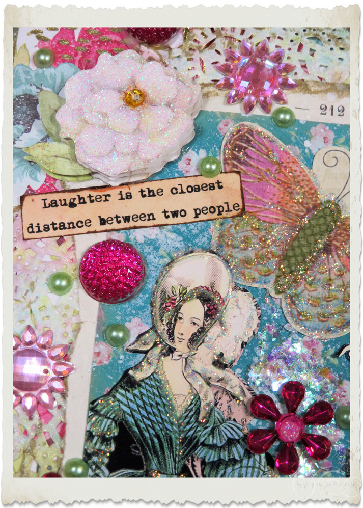 Wordart on front of the Regency ladies card - Laughter is the closest distance between two people