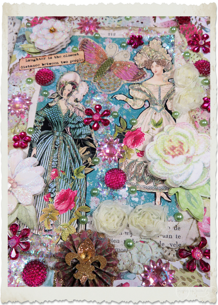 Frontside of handmade Regency lady style card with pretty flowers