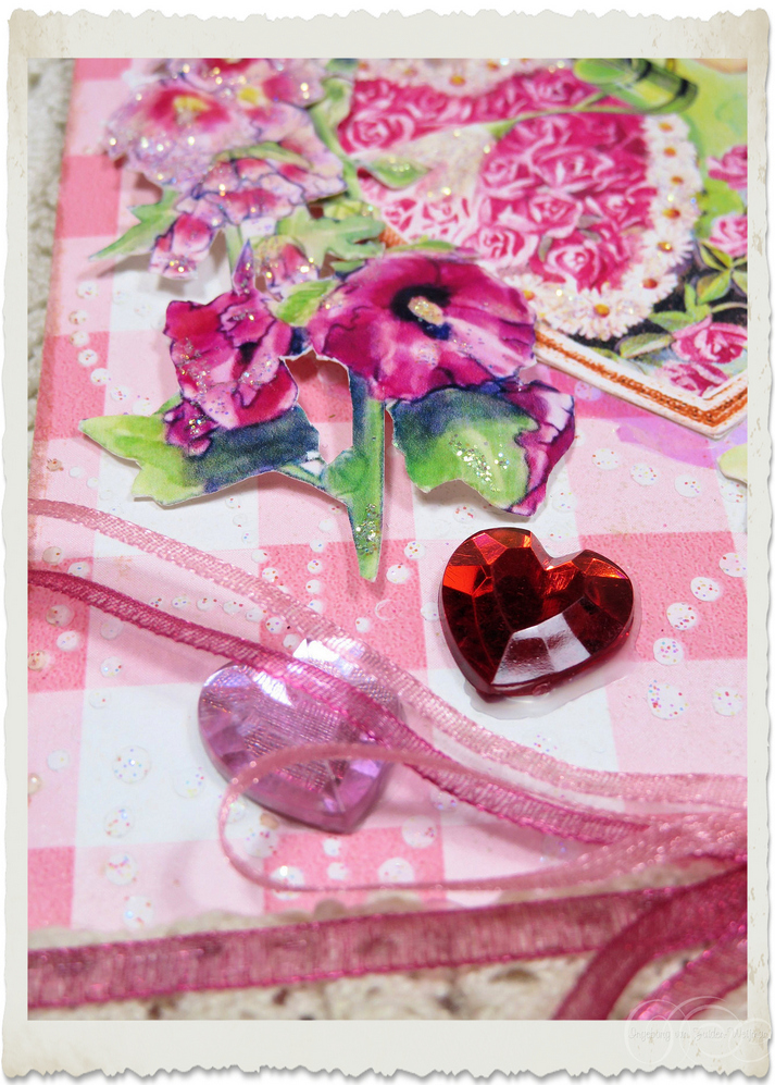 Heart embellishments with Hollyhock flowers