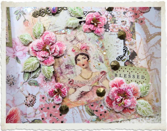 Handmade vintage style floral card by Ingeborg with Oakberry lane flowers