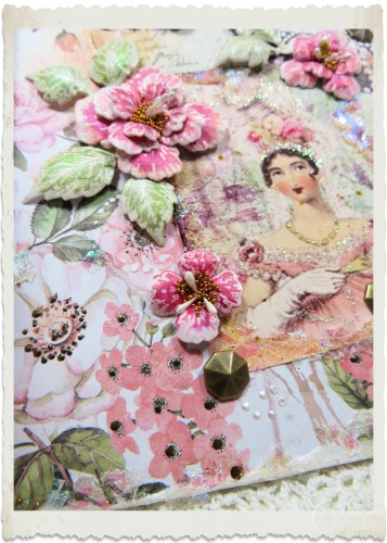 Details of pretty pink flowers on handmade Regency style card