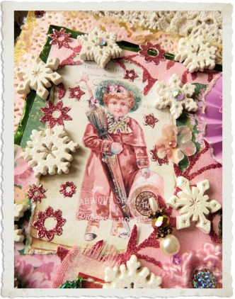 Details of Christmas wallhanger with vintage boy