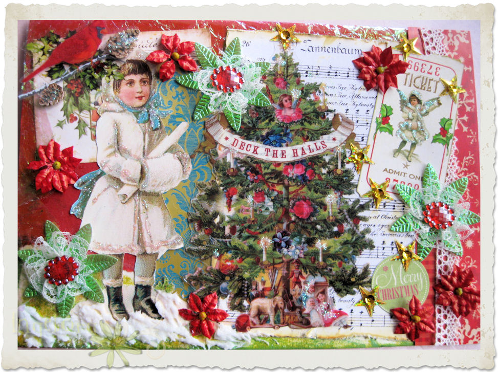 Details of handmade Christmas card with snow fairy by Ingeborg van Zuiden