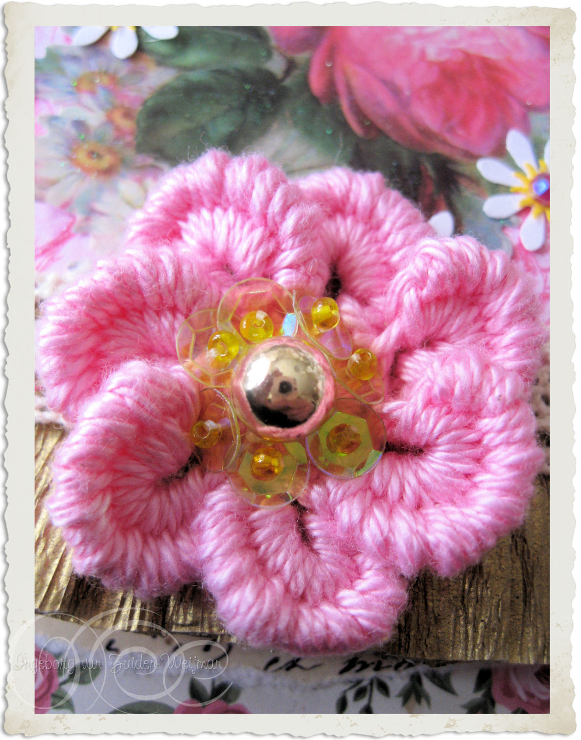 Pink crochet bullion flower by Ingeborg van Zuiden