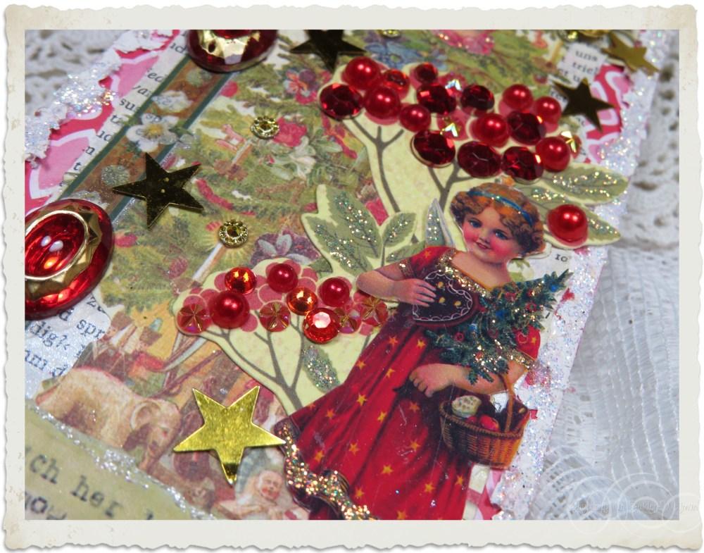 Details of handmade Christmas wish list tag