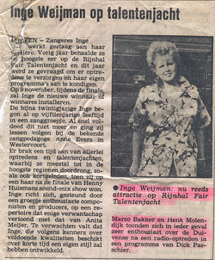 Rijnhal Fair Talentenjacht Arnhem 1984 newspaper article