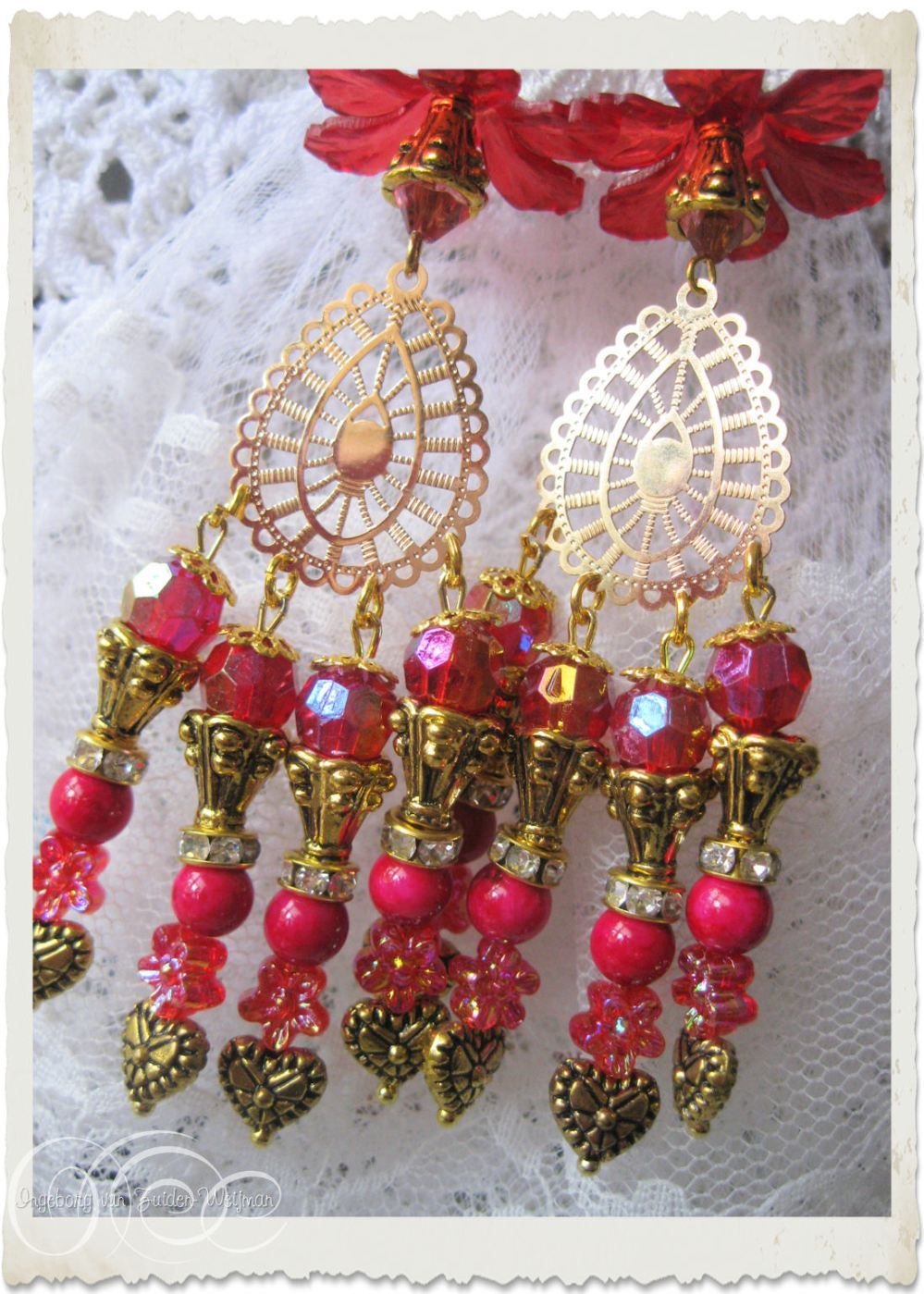 Red gold chandelier earrings with AB shine