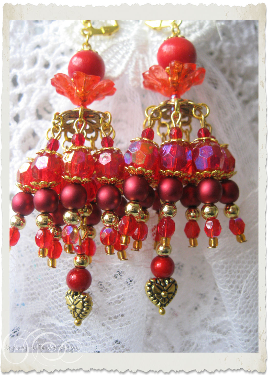 Handmade red chandelier earrings with hearts