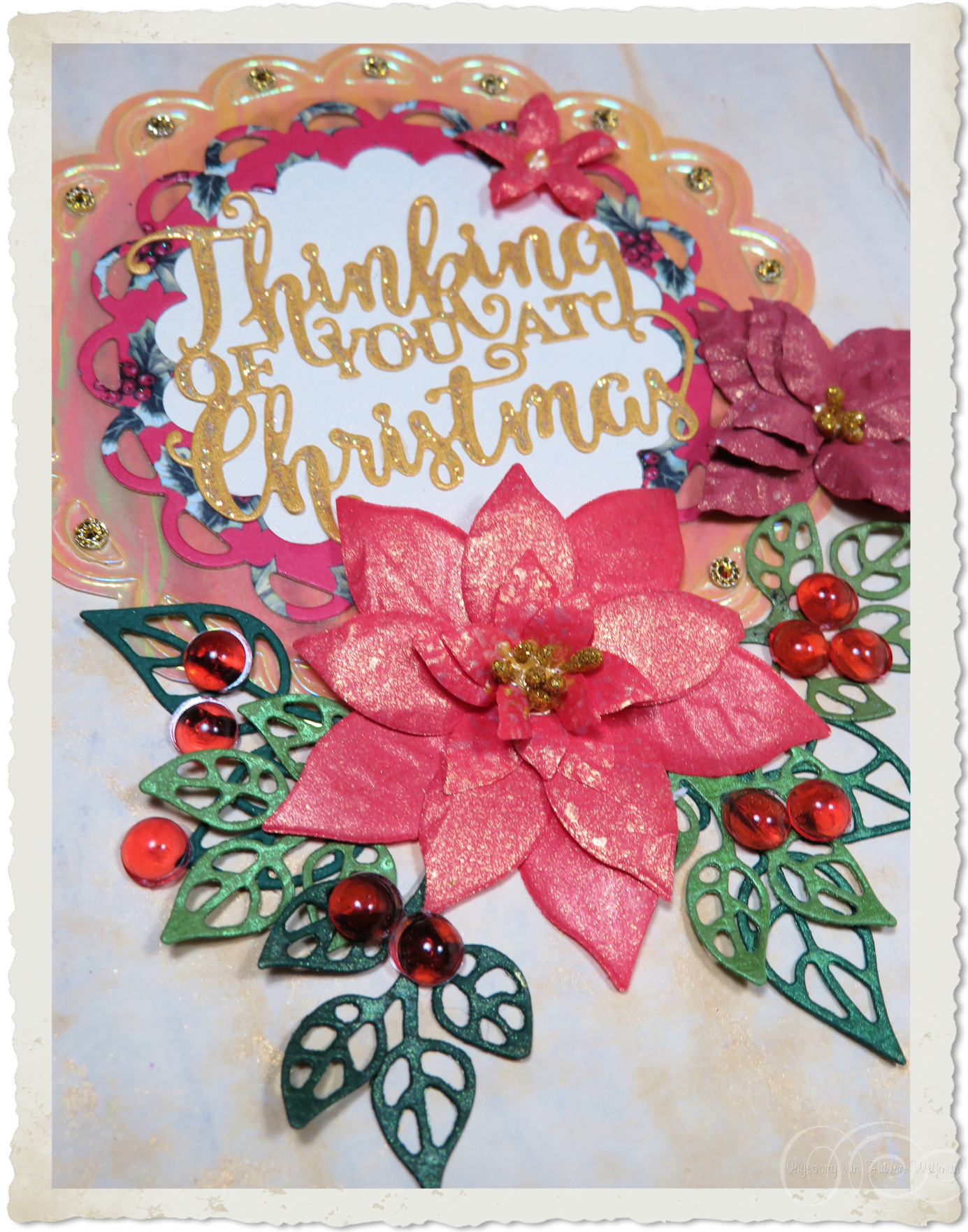 Handmade Christmas wish circle inside card details