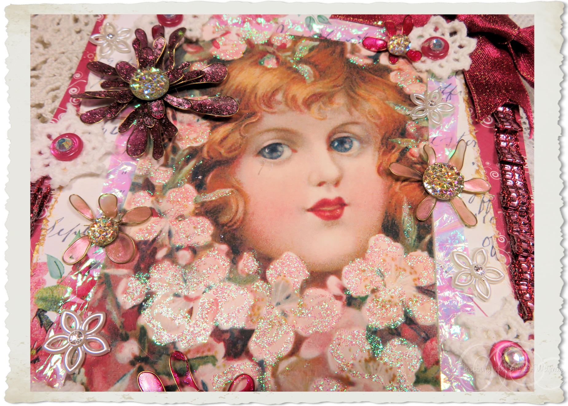 Victorian angel notecard hanger for Christmas by Ingeborg van Zuiden
