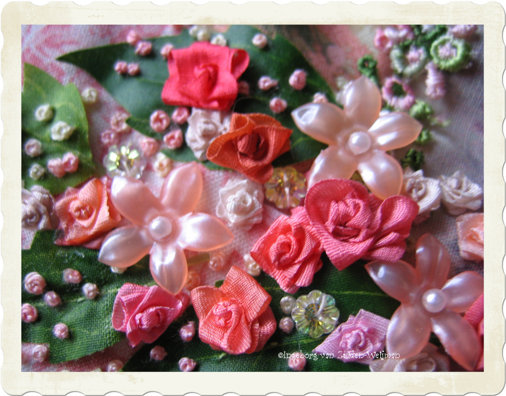 handmade pink ribbon roses by Ingeborg van Zuiden