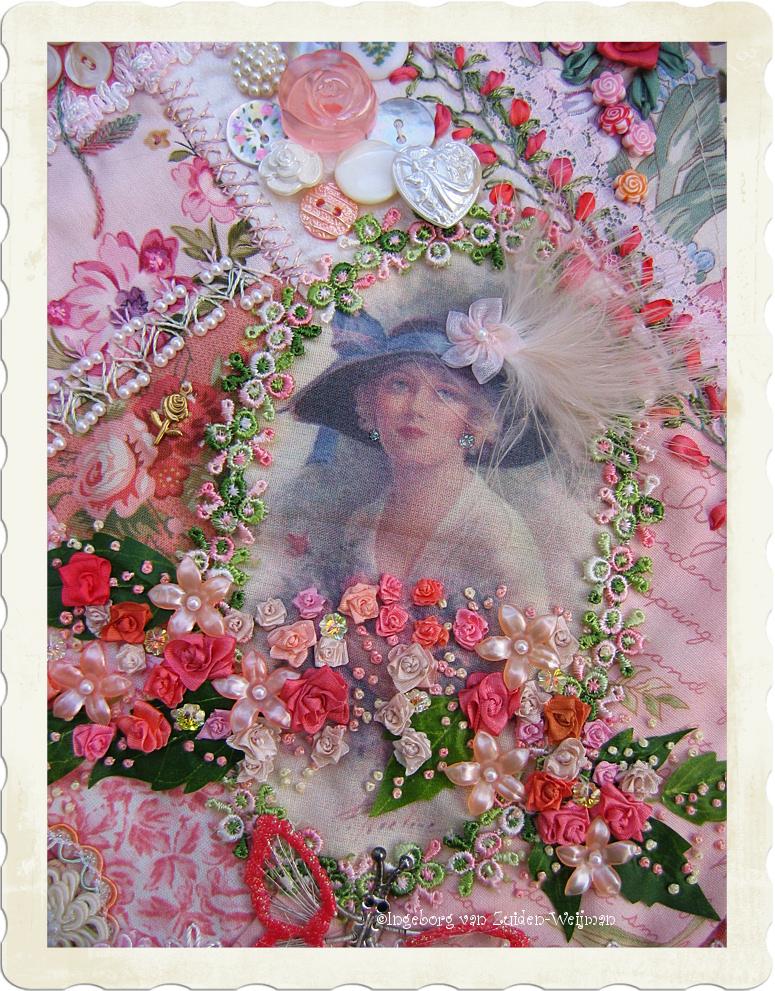 Pink victorian lady crazy quilt by Ingeborg van Zuiden