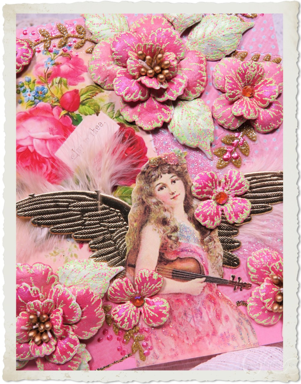 Details of handmade card with angel and Oakberry Lane flowers by Ingeborg van Zuiden