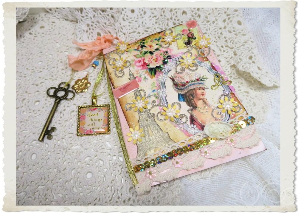 Handmade vintage style Marie card