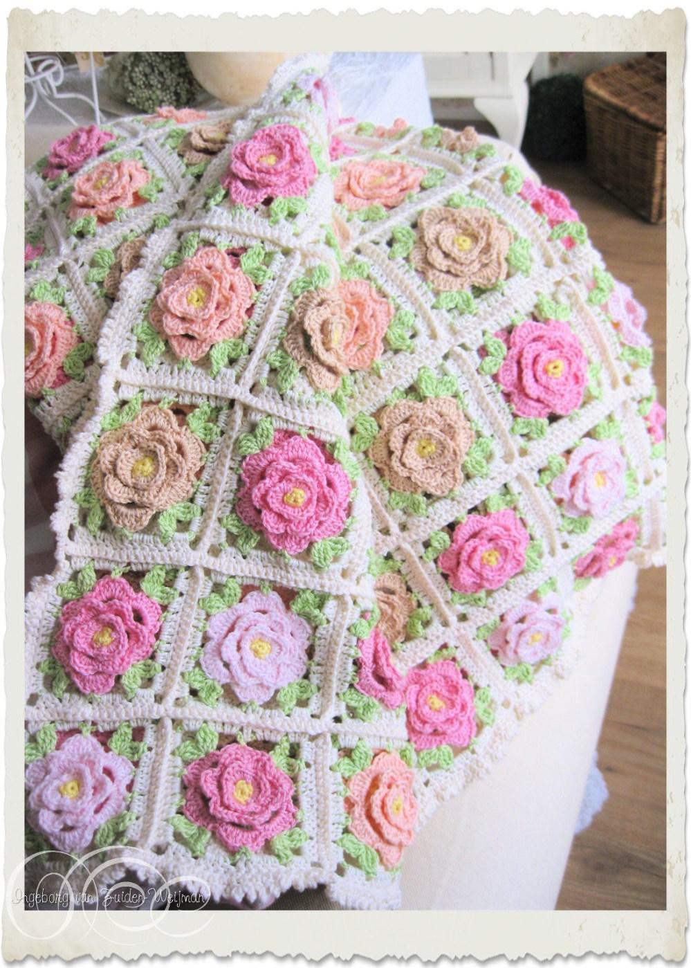 Handmade shabby chic roses crochet afghan by Ingeborg van Zuiden