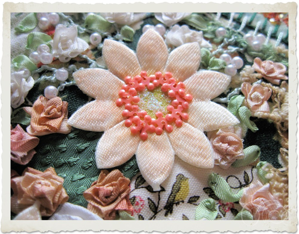 Ribbon flowers and beads