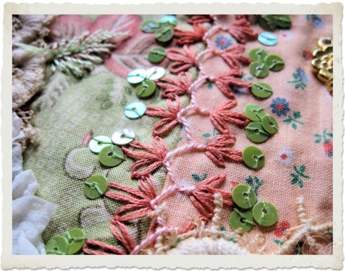 Seam treatment with sequins and silk thread by Ingeborg van Zuiden