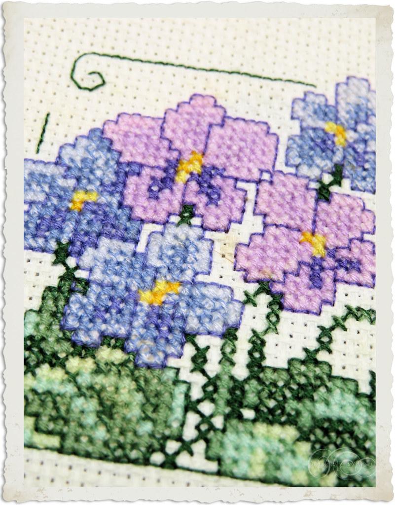 Cross-stitch violets