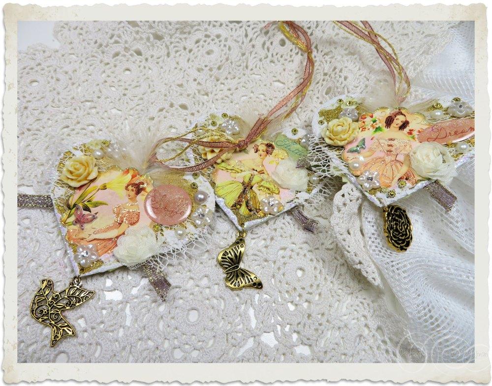 Set of 3 handmade mixed media hearts in Regency style