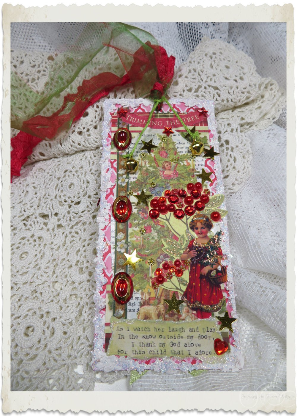 Handmade Christmas tag with bells and vintage angel