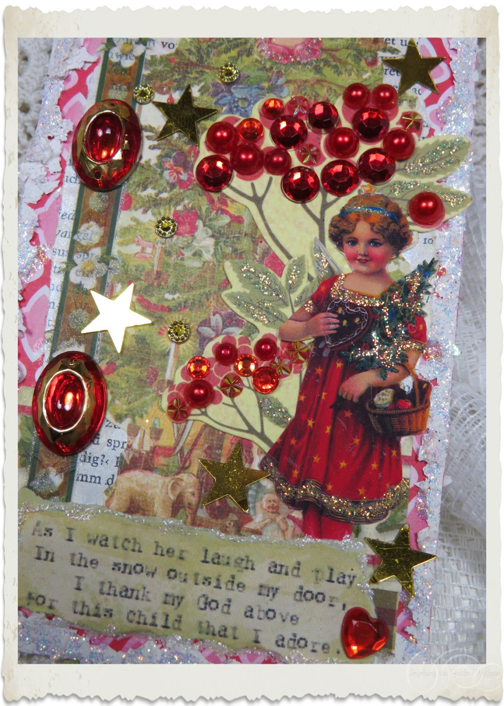 Vintage angel on handmade Christmas tag by Ingeborg van Zuiden