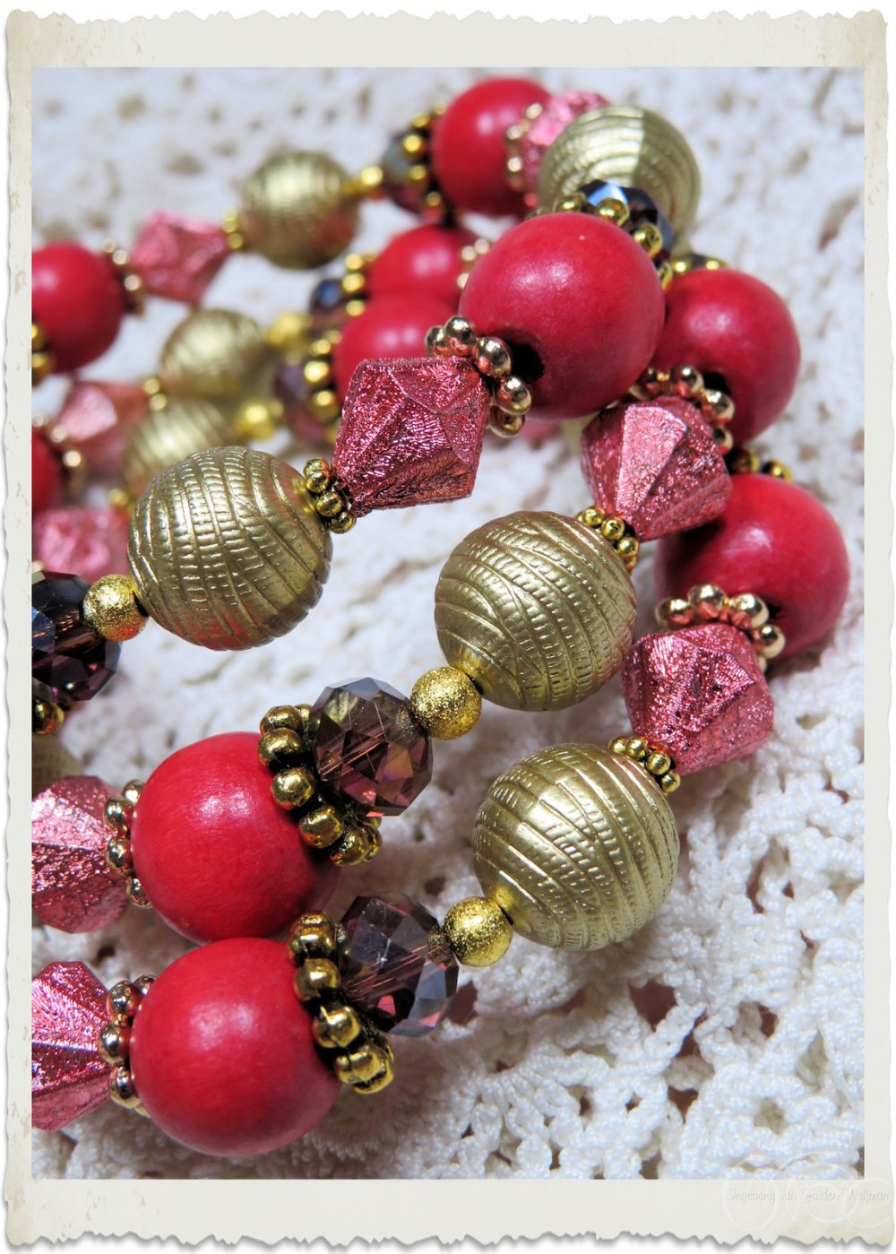 Details of gold red beads on memory wire bracelet