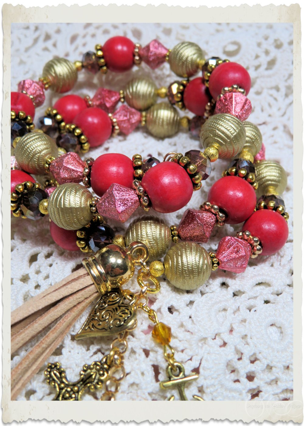 Red gold memory wire bracelet