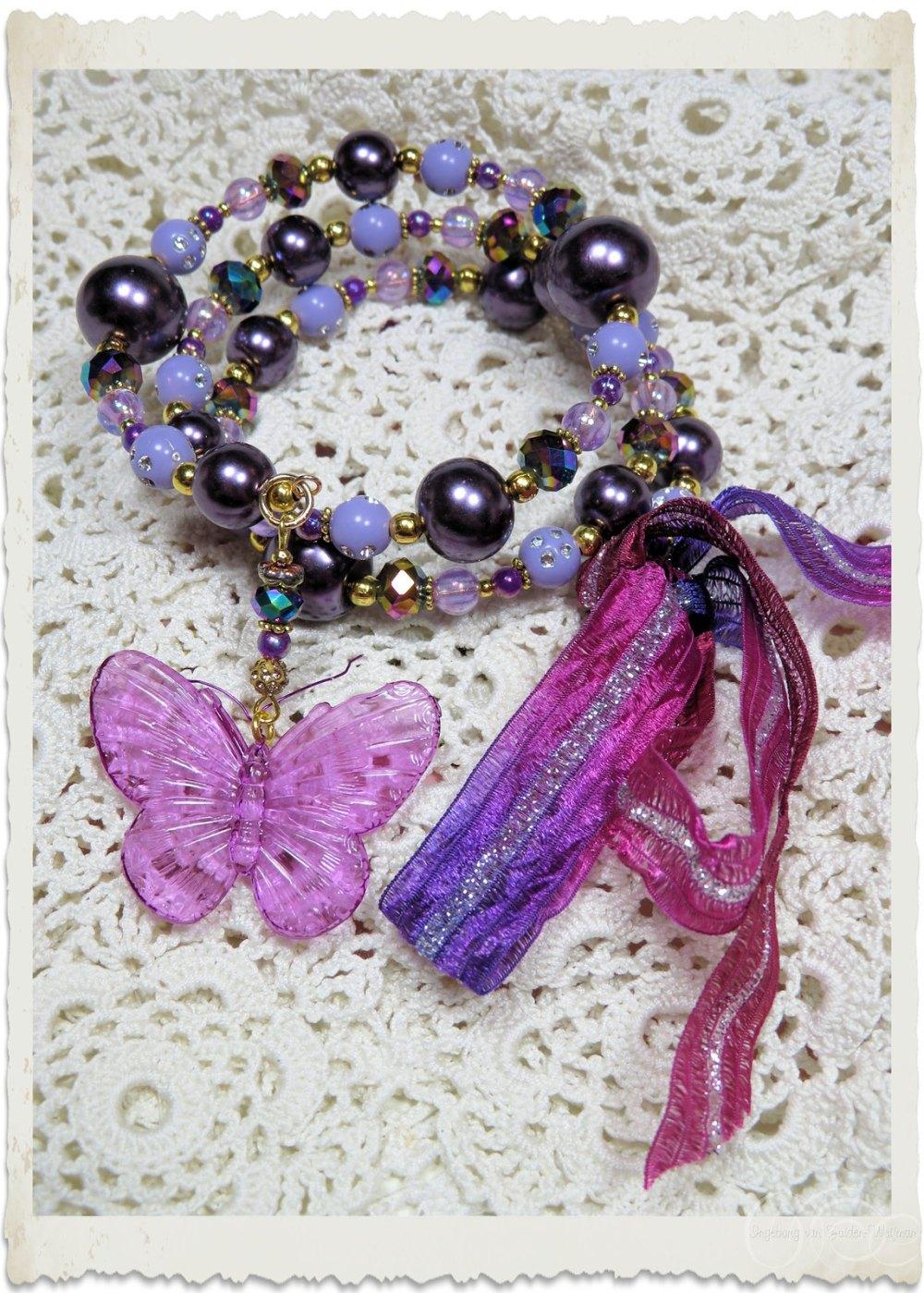 Purple gold memory wire bracelet with ribbon by Ingeborg van Zuiden