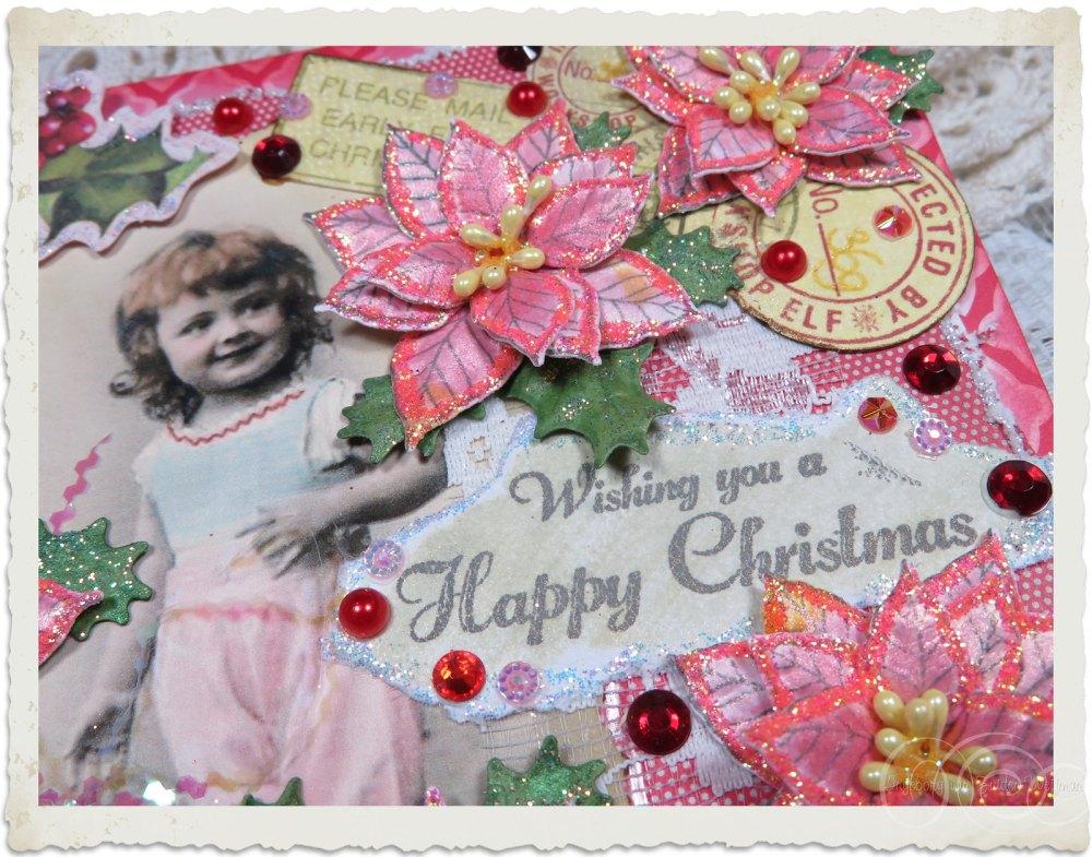 Wishing you a Happy Christmas wordart on handmade card