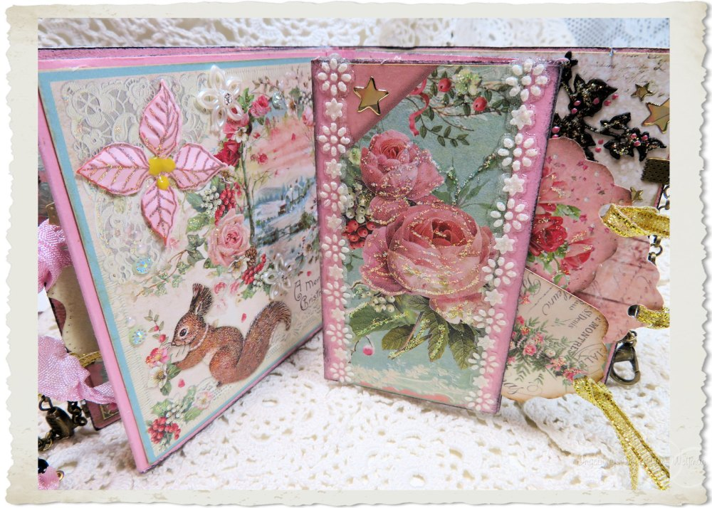 Inside shabby chic pink floral pages of Christmas book