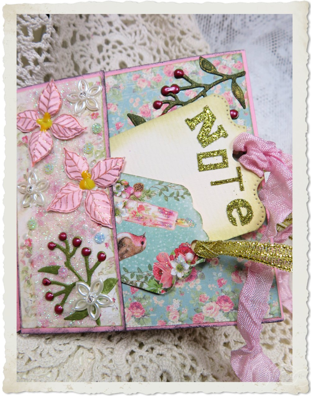 Pocket with notes and poinsettia flower