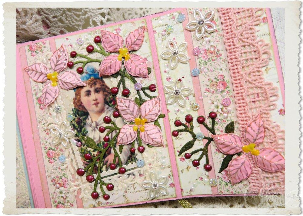 Victorian angel with Heartfelt Creations poinsettia flowers in pink by Ingeborg van Zuiden