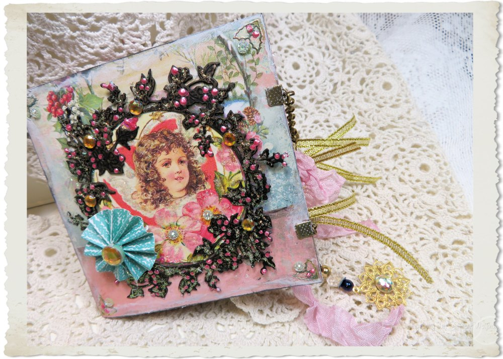 Handmade Christmas booklet with vintage angel and rosette